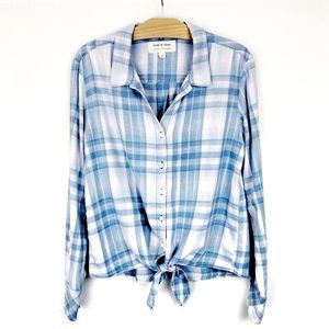 Cloth & Stone Plaid Tie Up Waist Blue & Pink Top M
